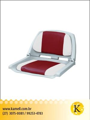 Assento dobrável plastico/vinil Cinza e vermelho