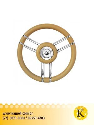 Volante em inox / Poliuretano / Marfim - 350mm