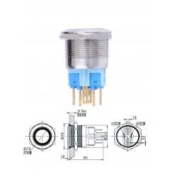 Botão Interruptor Inox, 5 pinos, Led Azul 12V/18A