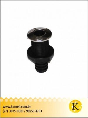 """Saída de água - PVC C/ Acabamento Inox 1"""""""